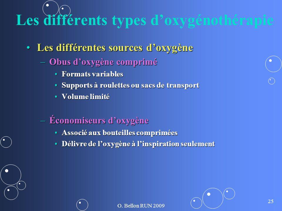 O. Bellon RUN 2009 25 Les différents types doxygénothérapie Les différentes sources doxygèneLes différentes sources doxygène –Obus doxygène comprimé F