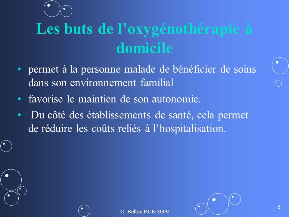 O. Bellon RUN 2009 6 Les buts de loxygénothérapie à domicile permet à la personne malade de bénéficier de soins dans son environnement familial favori