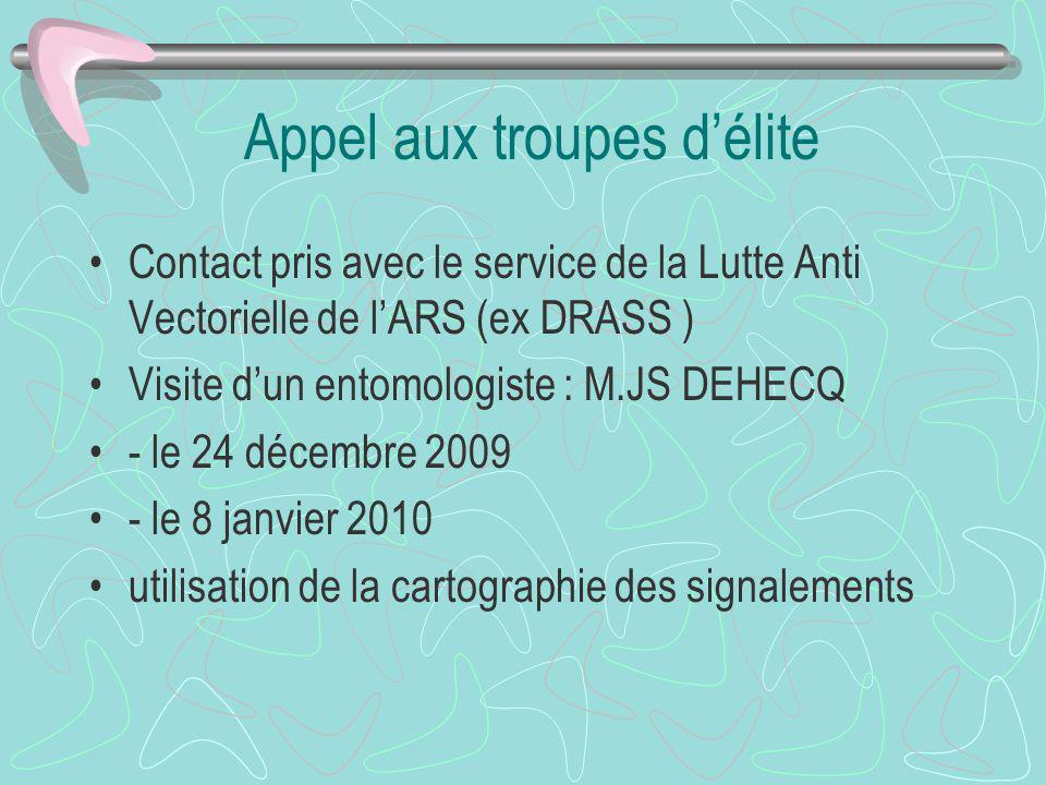 Appel aux troupes délite Contact pris avec le service de la Lutte Anti Vectorielle de lARS (ex DRASS ) Visite dun entomologiste : M.JS DEHECQ - le 24