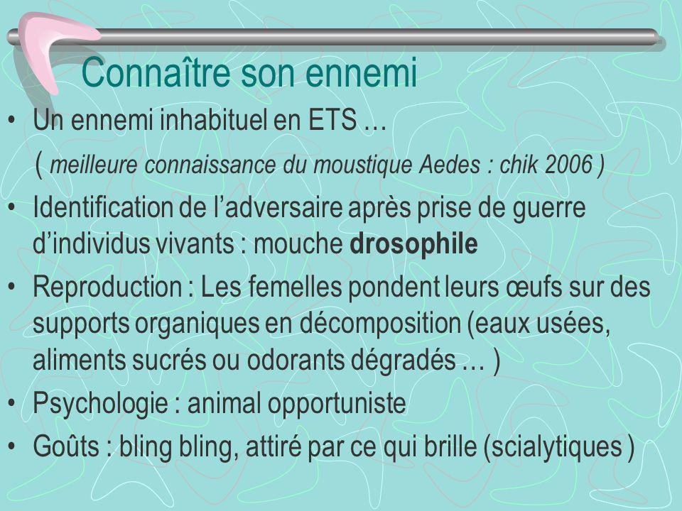 Connaître son ennemi Un ennemi inhabituel en ETS … ( meilleure connaissance du moustique Aedes : chik 2006 ) Identification de ladversaire après prise