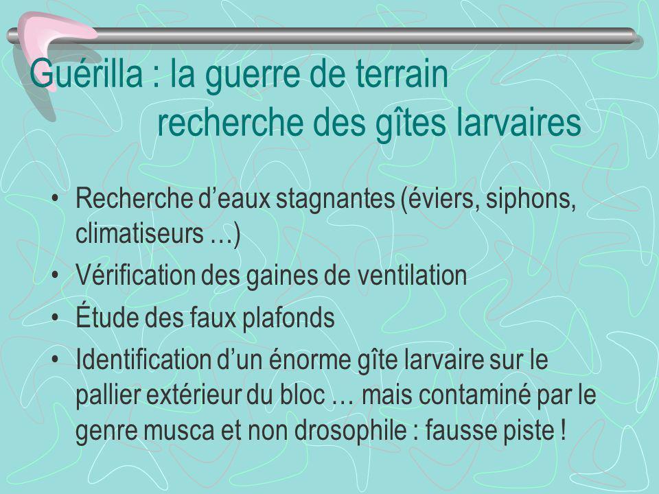 Guérilla : la guerre de terrain recherche des gîtes larvaires Recherche deaux stagnantes (éviers, siphons, climatiseurs …) Vérification des gaines de