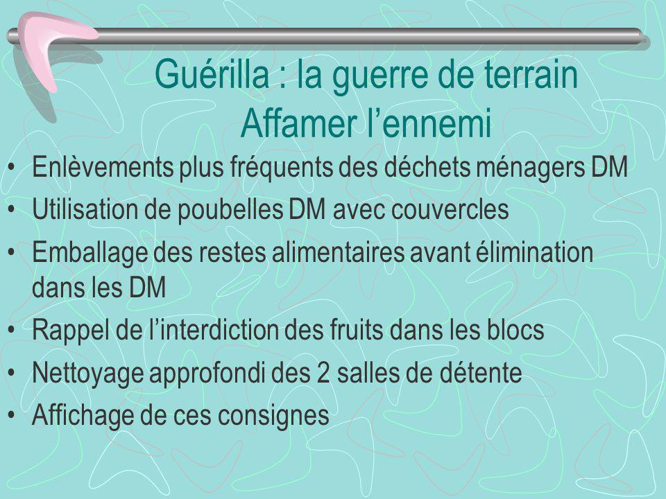 Guérilla : la guerre de terrain Affamer lennemi Enlèvements plus fréquents des déchets ménagers DM Utilisation de poubelles DM avec couvercles Emballa
