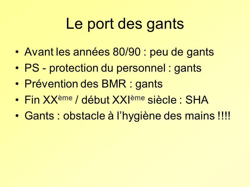 Le port des gants Avant les années 80/90 : peu de gants PS - protection du personnel : gants Prévention des BMR : gants Fin XX ème / début XXI ème siè