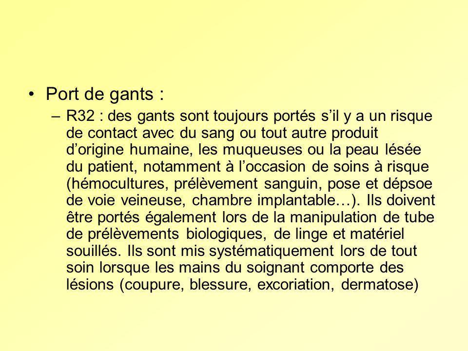 Port de gants : –R32 : des gants sont toujours portés sil y a un risque de contact avec du sang ou tout autre produit dorigine humaine, les muqueuses