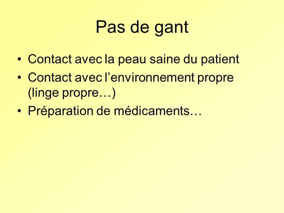 Pas de gant Contact avec la peau saine du patient Contact avec lenvironnement propre (linge propre…) Préparation de médicaments…