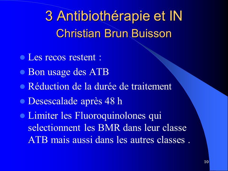 10 3 Antibiothérapie et IN Christian Brun Buisson Les recos restent : Bon usage des ATB Réduction de la durée de traitement Desescalade après 48 h Lim