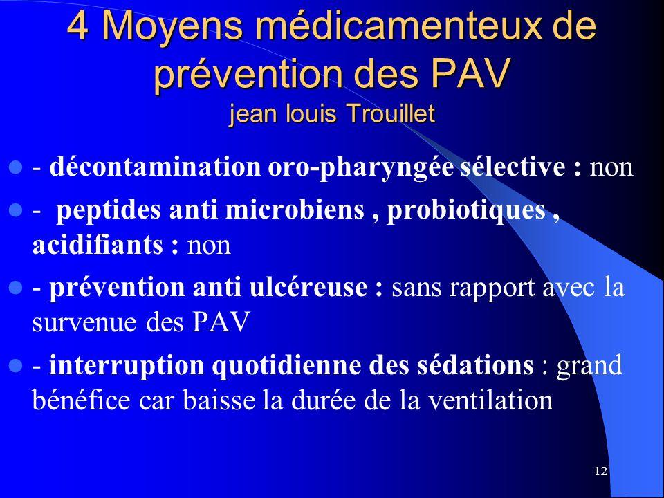 12 4 Moyens médicamenteux de prévention des PAV jean louis Trouillet - décontamination oro-pharyngée sélective : non - peptides anti microbiens, probi