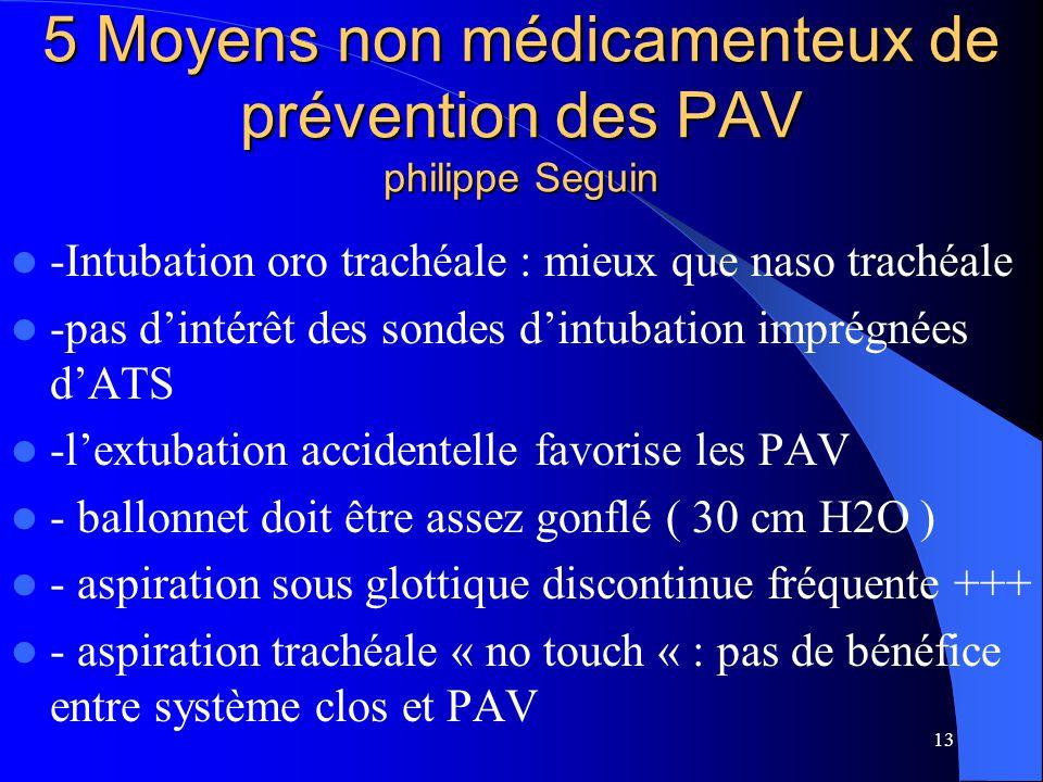 13 5 Moyens non médicamenteux de prévention des PAV philippe Seguin -Intubation oro trachéale : mieux que naso trachéale -pas dintérêt des sondes dint