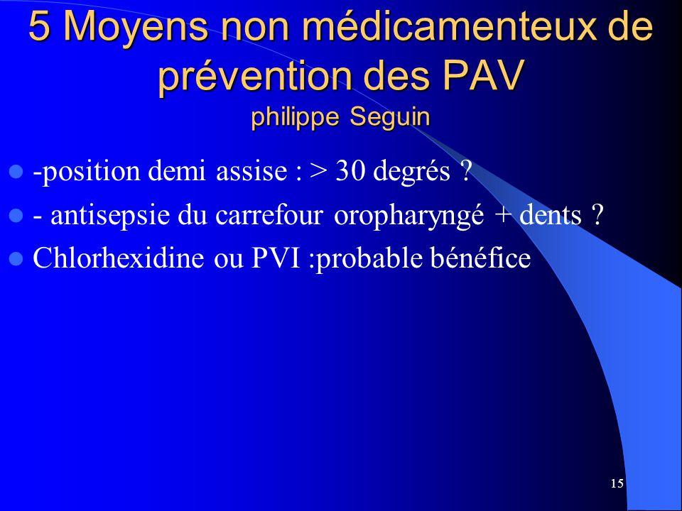15 5 Moyens non médicamenteux de prévention des PAV philippe Seguin -position demi assise : > 30 degrés ? - antisepsie du carrefour oropharyngé + dent