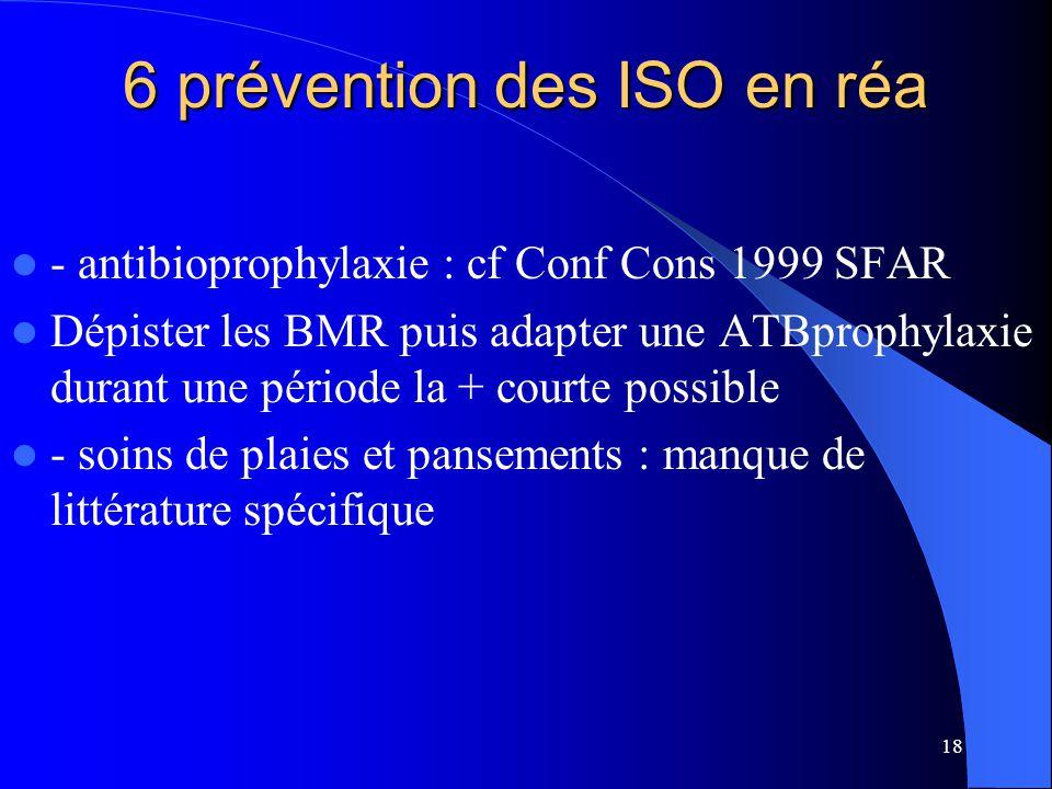 18 6 prévention des ISO en réa - antibioprophylaxie : cf Conf Cons 1999 SFAR Dépister les BMR puis adapter une ATBprophylaxie durant une période la +