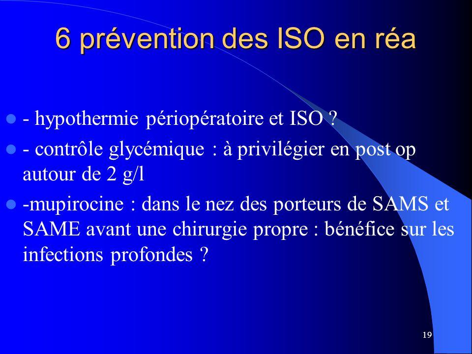 19 6 prévention des ISO en réa - hypothermie périopératoire et ISO ? - contrôle glycémique : à privilégier en post op autour de 2 g/l -mupirocine : da