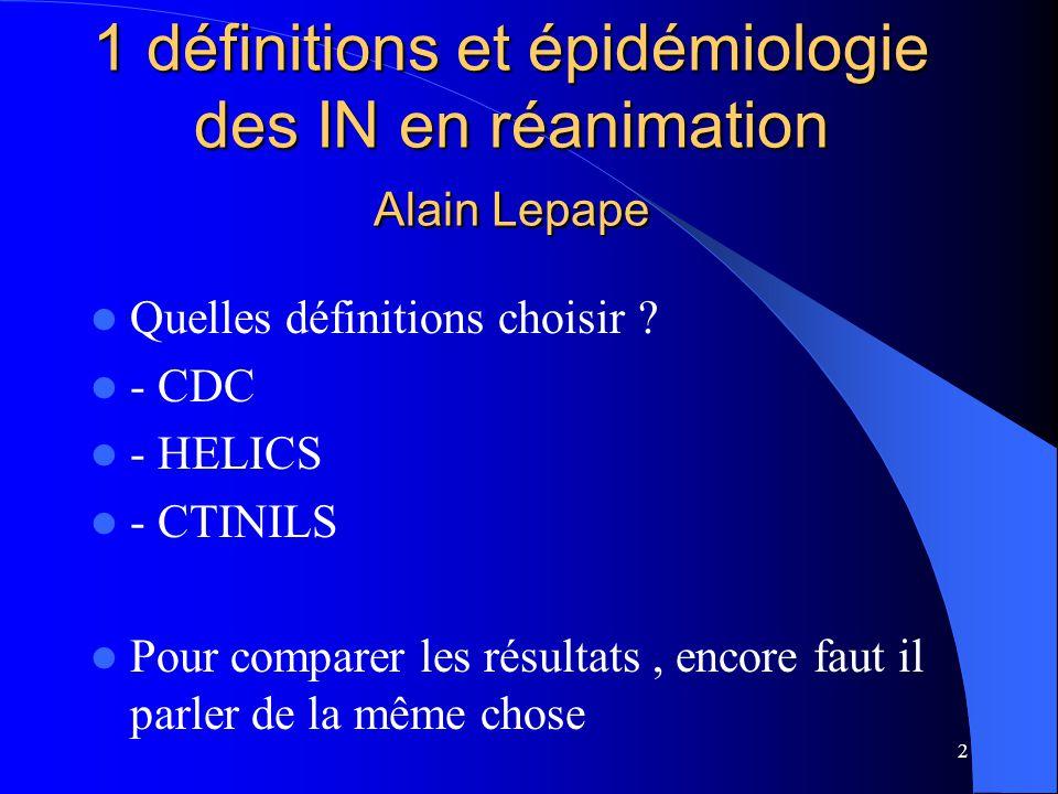2 1 définitions et épidémiologie des IN en réanimation Alain Lepape Quelles définitions choisir ? - CDC - HELICS - CTINILS Pour comparer les résultats