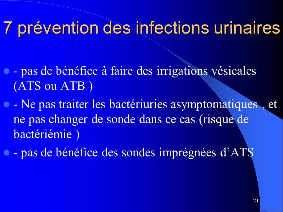 21 7 prévention des infections urinaires - pas de bénéfice à faire des irrigations vésicales (ATS ou ATB ) - Ne pas traiter les bactériuries asymptoma