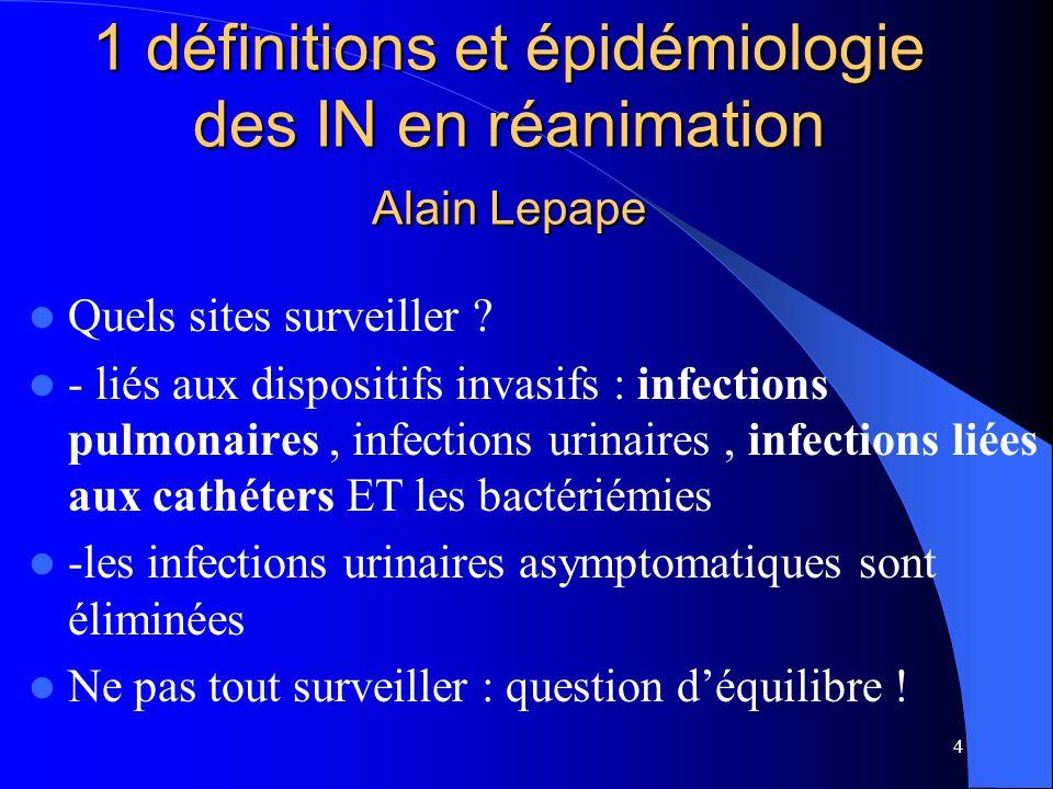 4 1 définitions et épidémiologie des IN en réanimation Alain Lepape Quels sites surveiller ? - liés aux dispositifs invasifs : infections pulmonaires,