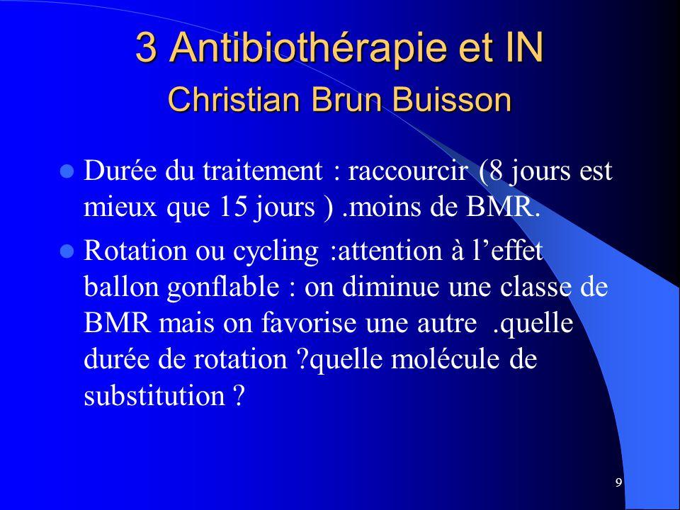 9 3 Antibiothérapie et IN Christian Brun Buisson Durée du traitement : raccourcir (8 jours est mieux que 15 jours ).moins de BMR. Rotation ou cycling