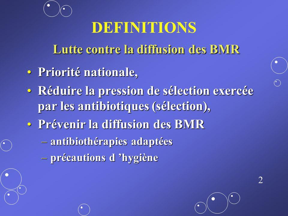1 BACTERIES MULTIRESISTANTES (BMR), À HAUT POTENTIEL DE TRANSMISSION CROISÉE ET MAITRISE DE LA DIFFUSION Dr O. BELLON Hôpital dAix en Provence Septemb
