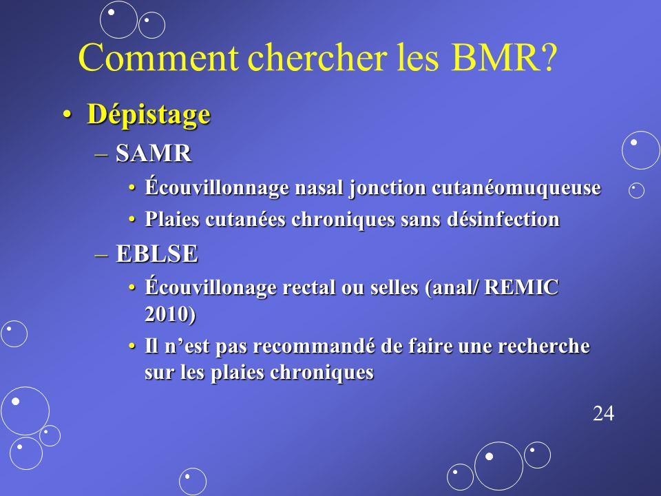 23 Comment chercher les BMR? Milieux spécifiques ++++Milieux spécifiques ++++ Techniques de biologie moléculaire ++++Techniques de biologie moléculair