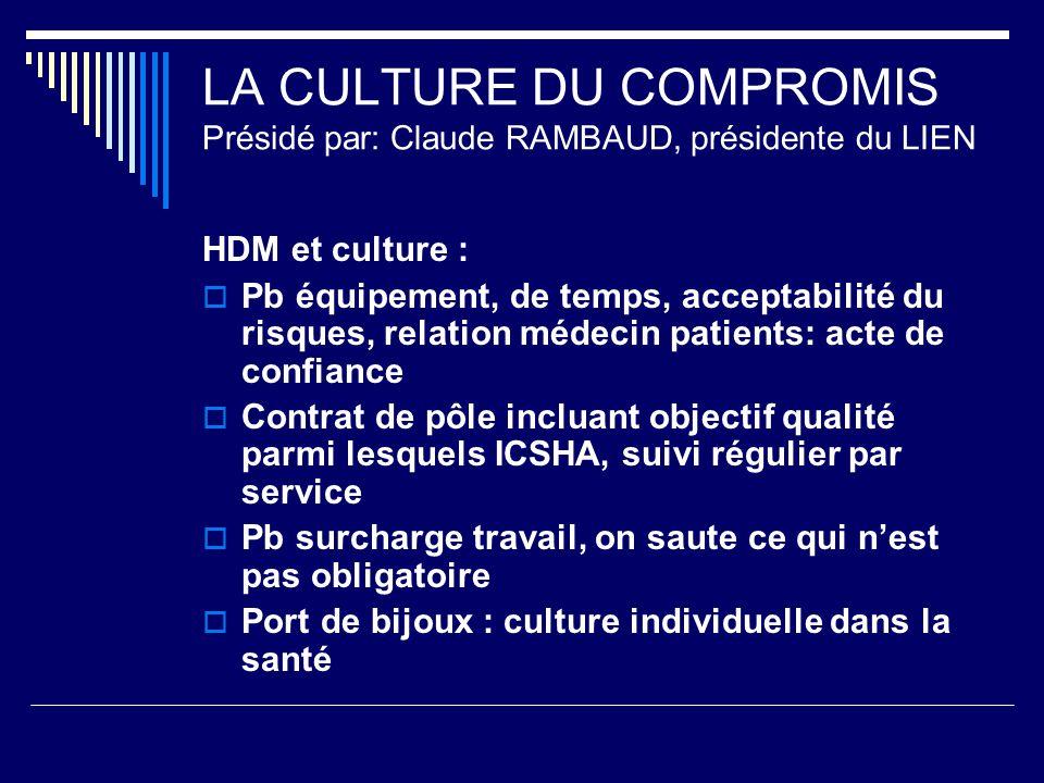 LA CULTURE DU COMPROMIS Présidé par: Claude RAMBAUD, présidente du LIEN HDM et culture : Pb équipement, de temps, acceptabilité du risques, relation m
