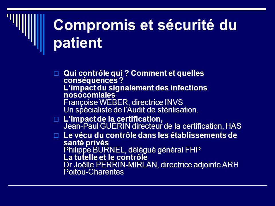 Compromis et sécurité du patient Qui contrôle qui ? Comment et quelles conséquences ? Limpact du signalement des infections nosocomiales Françoise WEB