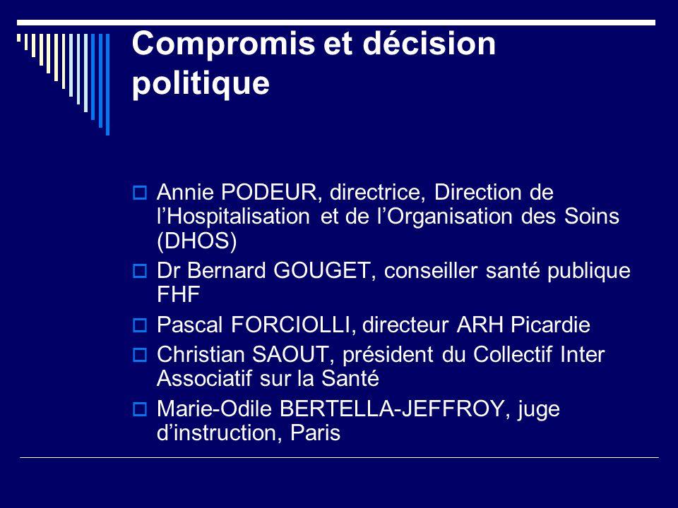 Compromis et décision politique Annie PODEUR, directrice, Direction de lHospitalisation et de lOrganisation des Soins (DHOS) Dr Bernard GOUGET, consei