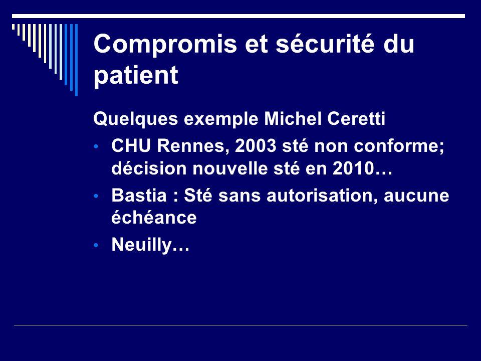 Compromis et sécurité du patient Quelques exemple Michel Ceretti CHU Rennes, 2003 sté non conforme; décision nouvelle sté en 2010… Bastia : Sté sans a