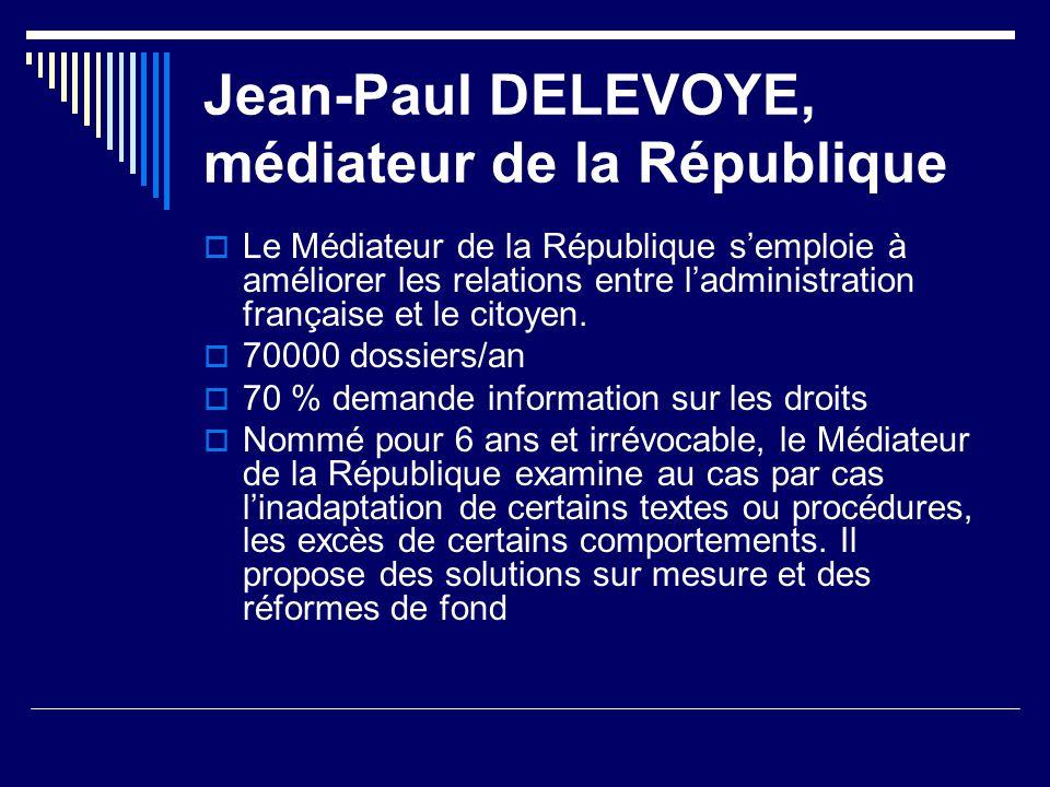 Jean-Paul DELEVOYE, médiateur de la République Le Médiateur de la République semploie à améliorer les relations entre ladministration française et le