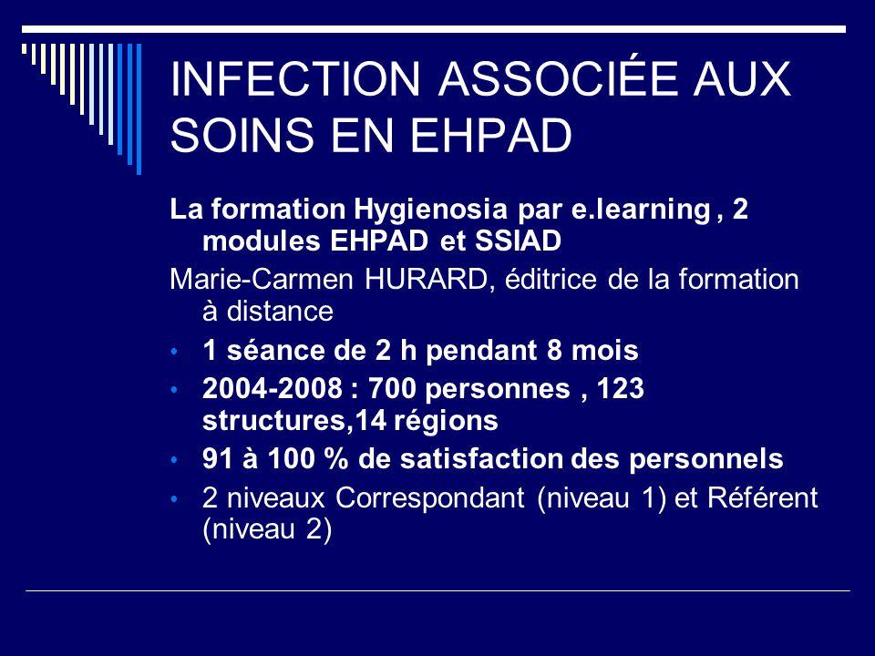 INFECTION ASSOCIÉE AUX SOINS EN EHPAD La formation Hygienosia par e.learning, 2 modules EHPAD et SSIAD Marie-Carmen HURARD, éditrice de la formation à