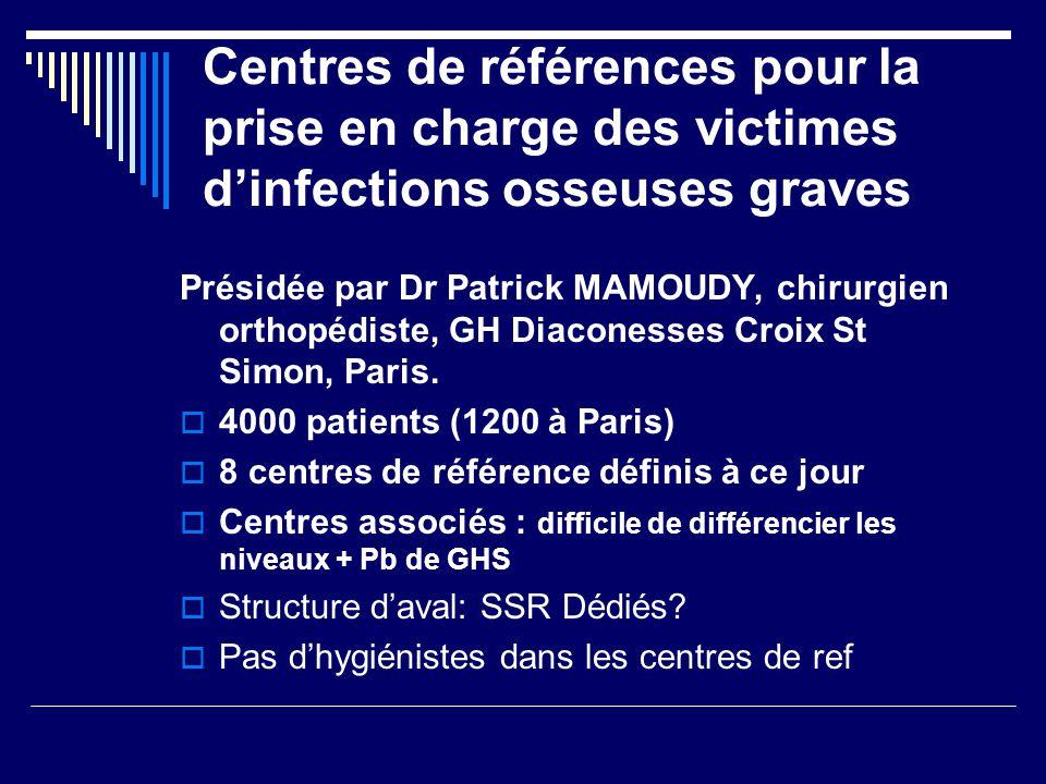 Centres de références pour la prise en charge des victimes dinfections osseuses graves Présidée par Dr Patrick MAMOUDY, chirurgien orthopédiste, GH Di