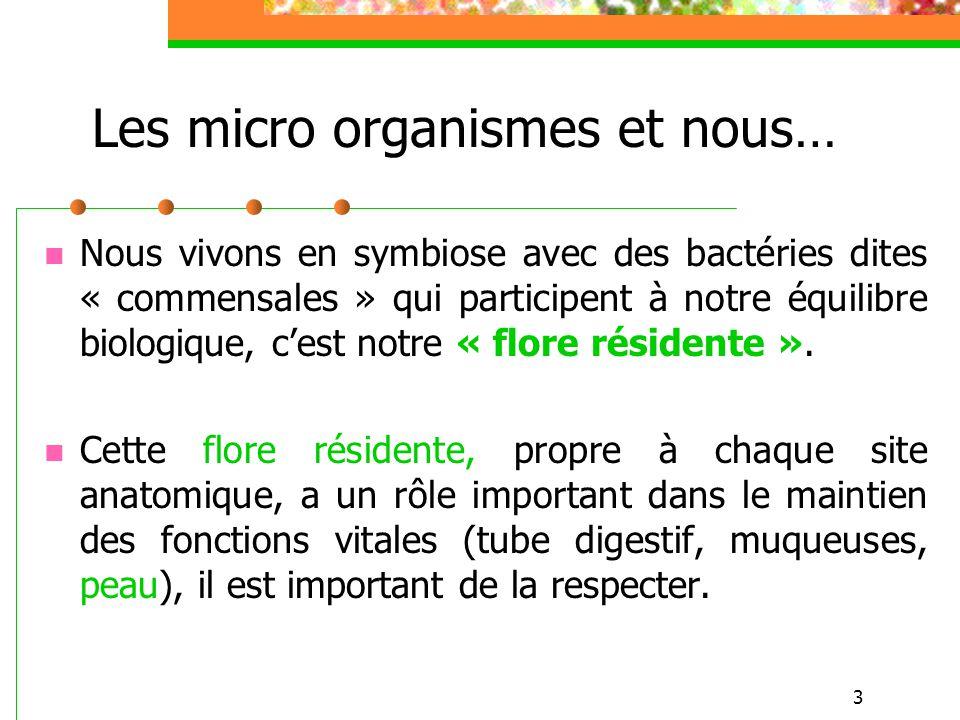 3 Nous vivons en symbiose avec des bactéries dites « commensales » qui participent à notre équilibre biologique, cest notre « flore résidente ». Cette