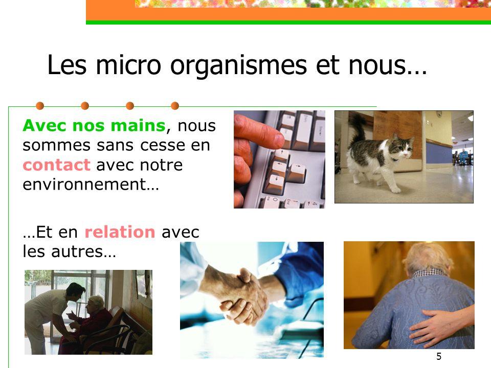 5 Les micro organismes et nous… Avec nos mains, nous sommes sans cesse en contact avec notre environnement… …Et en relation avec les autres…