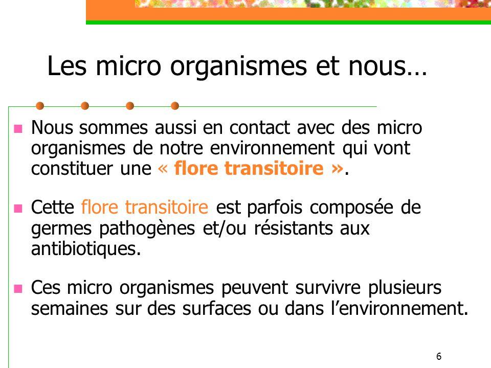 6 Nous sommes aussi en contact avec des micro organismes de notre environnement qui vont constituer une « flore transitoire ». Cette flore transitoire