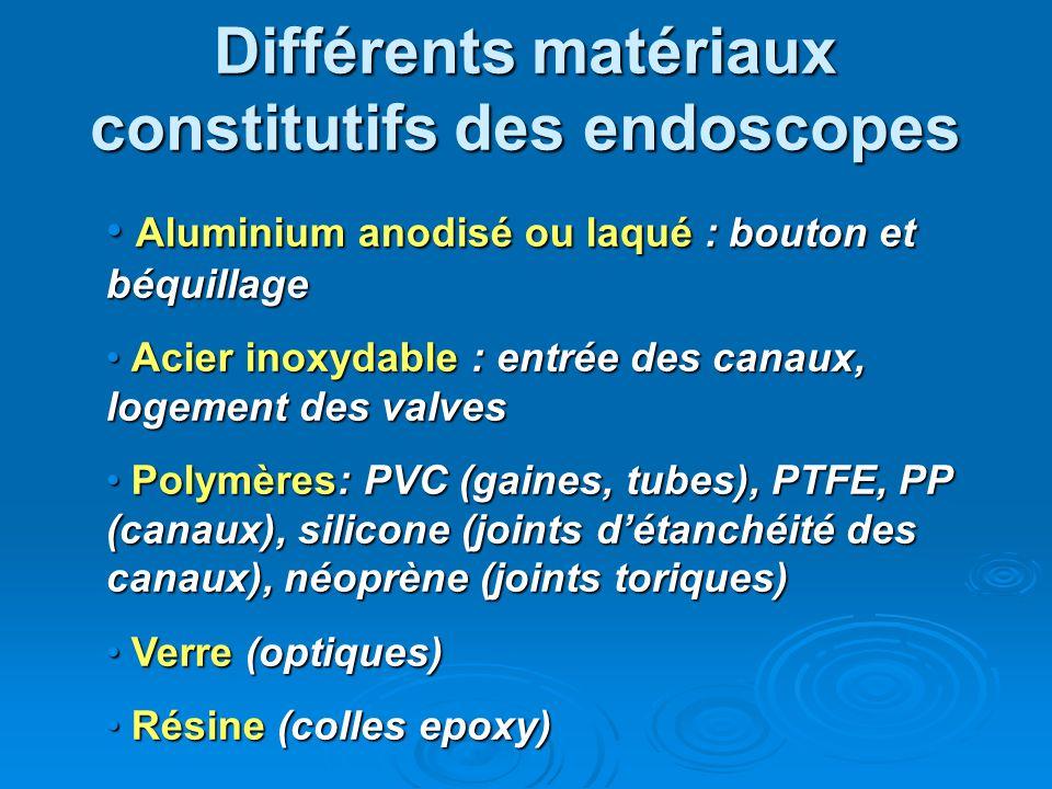 Différents matériaux constitutifs des endoscopes Aluminium anodisé ou laqué : bouton et béquillage Aluminium anodisé ou laqué : bouton et béquillage A