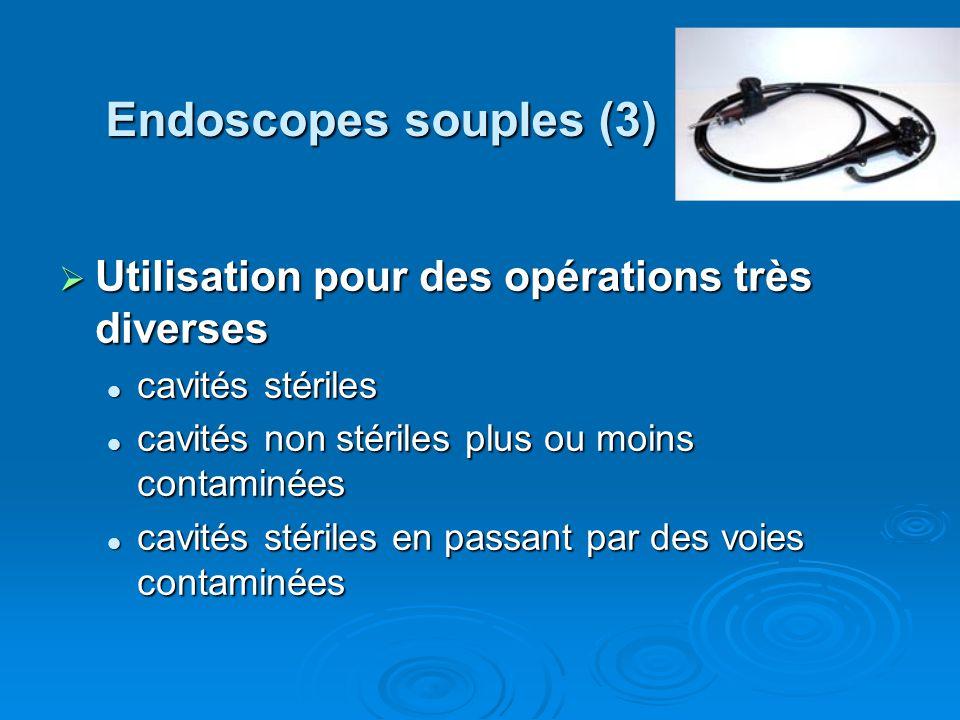 Endoscopes souples (3) Utilisation pour des opérations très diverses Utilisation pour des opérations très diverses cavités stériles cavités stériles c
