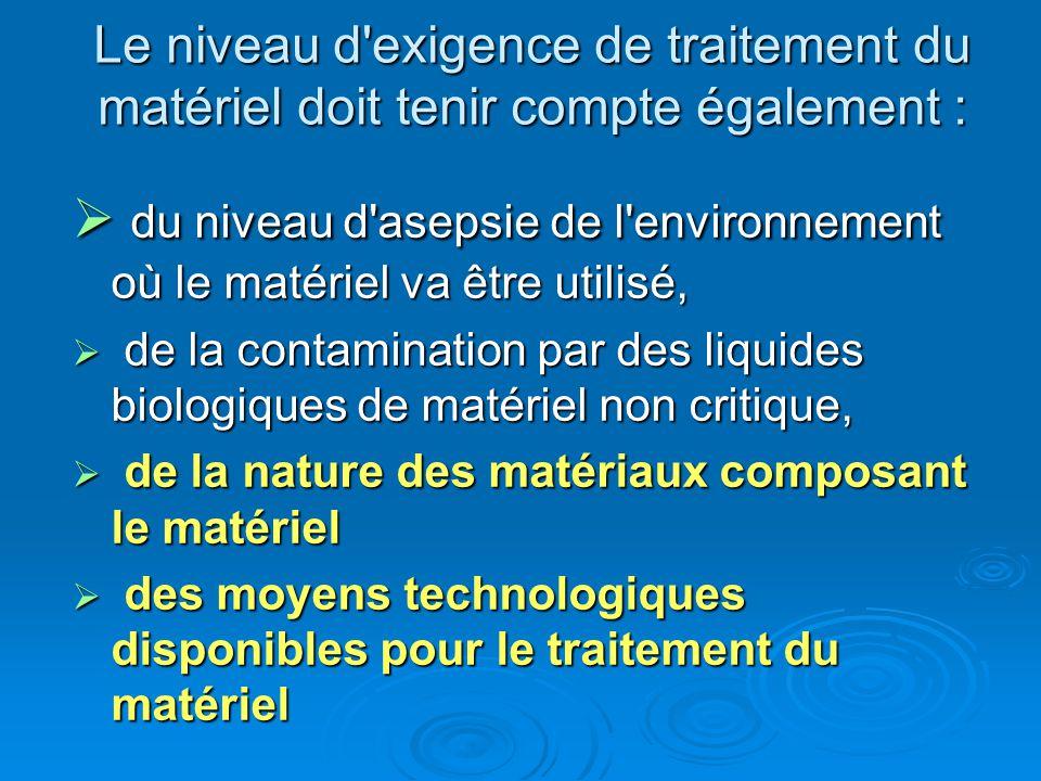 Le niveau d'exigence de traitement du matériel doit tenir compte également : du niveau d'asepsie de l'environnement où le matériel va être utilisé, du
