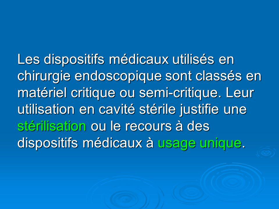 Les dispositifs médicaux utilisés en chirurgie endoscopique sont classés en matériel critique ou semi-critique. Leur utilisation en cavité stérile jus