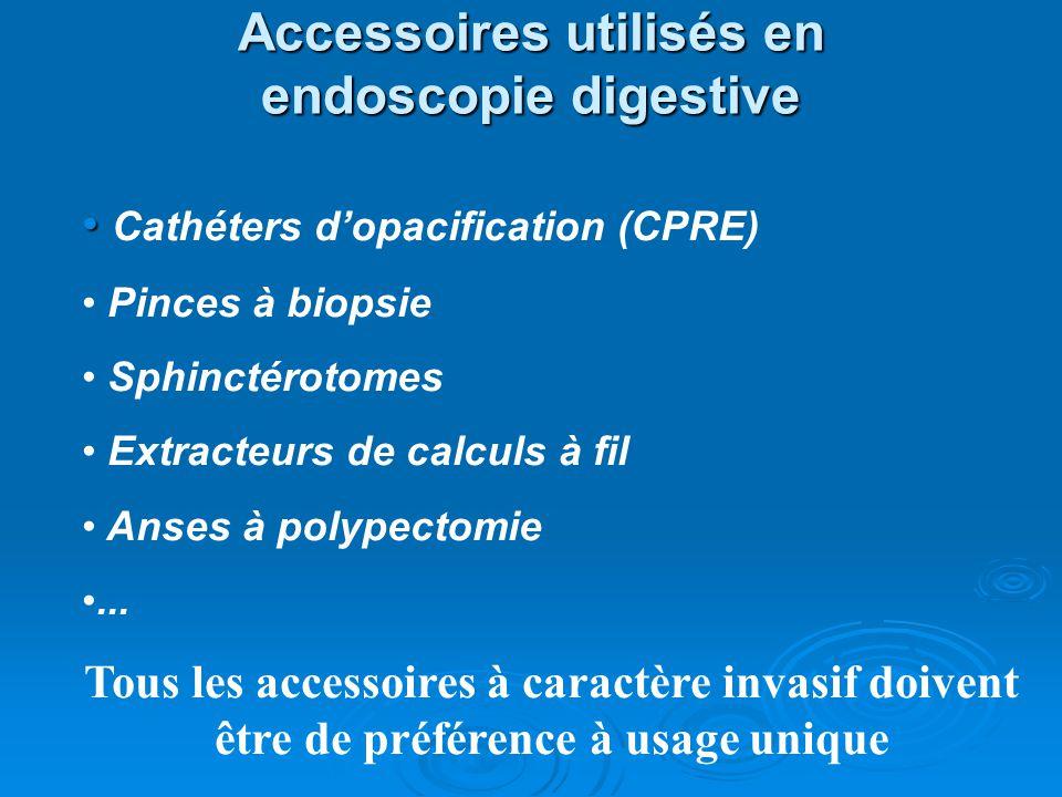 Accessoires utilisés en endoscopie digestive Cathéters dopacification (CPRE) Pinces à biopsie Sphinctérotomes Extracteurs de calculs à fil Anses à pol