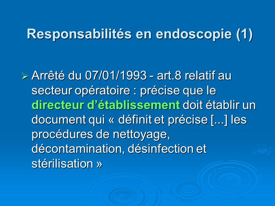 Responsabilités en endoscopie (1) Arrêté du 07/01/1993 - art.8 relatif au secteur opératoire : précise que le directeur détablissement doit établir un