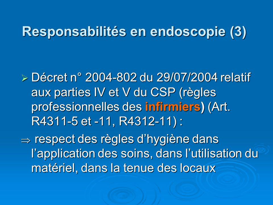 Responsabilités en endoscopie (3) Décret n° 2004-802 du 29/07/2004 relatif aux parties IV et V du CSP (règles professionnelles des infirmiers) (Art. R