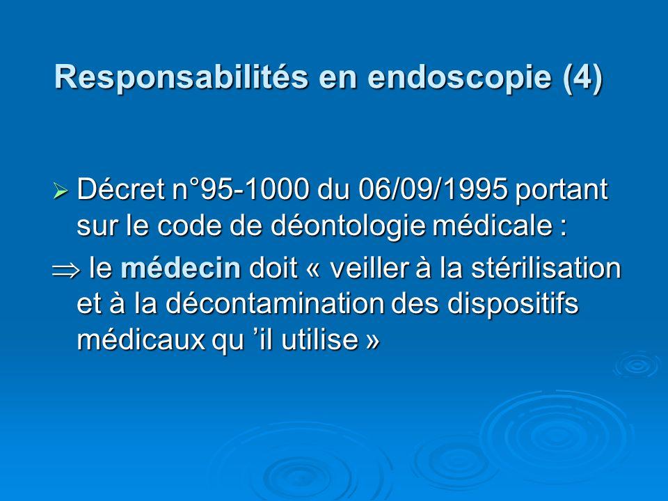 Responsabilités en endoscopie (4) Décret n°95-1000 du 06/09/1995 portant sur le code de déontologie médicale : Décret n°95-1000 du 06/09/1995 portant