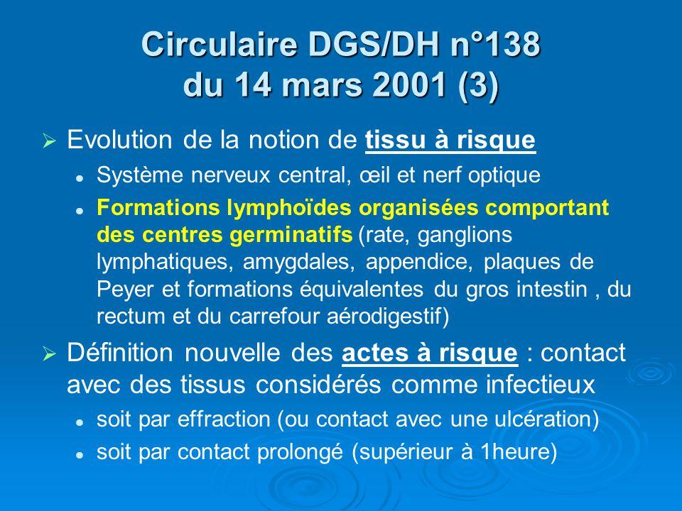 Circulaire DGS/DH n°138 du 14 mars 2001 (3) Evolution de la notion de tissu à risque Système nerveux central, œil et nerf optique Formations lymphoïde