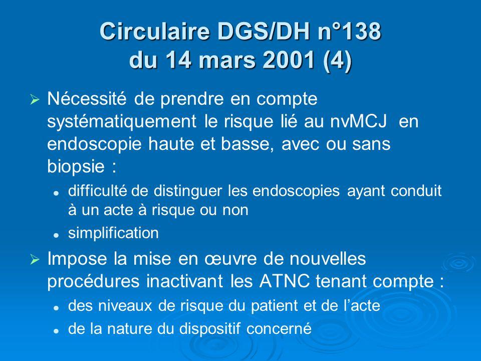 Circulaire DGS/DH n°138 du 14 mars 2001 (4) Nécessité de prendre en compte systématiquement le risque lié au nvMCJ en endoscopie haute et basse, avec
