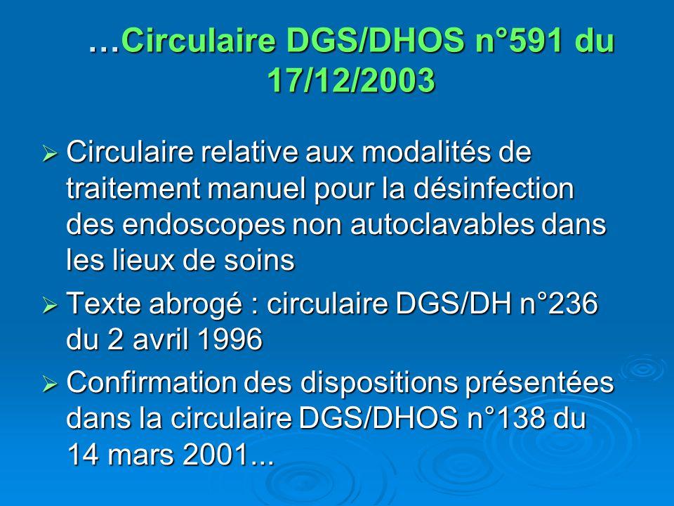 …Circulaire DGS/DHOS n°591 du 17/12/2003 Circulaire relative aux modalités de traitement manuel pour la désinfection des endoscopes non autoclavables