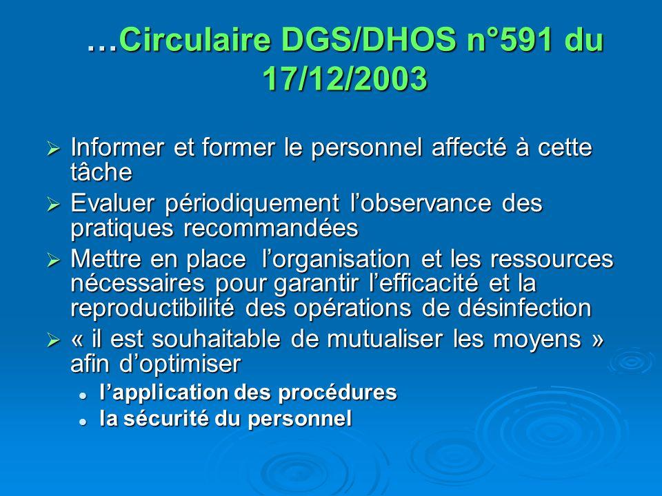 …Circulaire DGS/DHOS n°591 du 17/12/2003 Informer et former le personnel affecté à cette tâche Informer et former le personnel affecté à cette tâche E