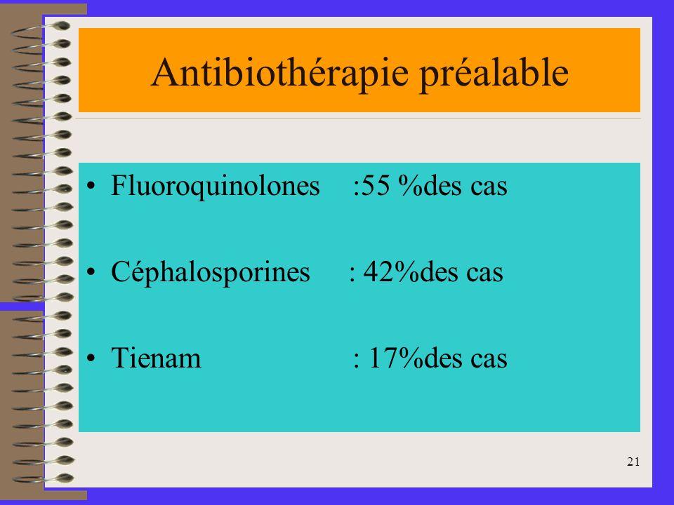 21 Antibiothérapie préalable Fluoroquinolones :55 %des cas Céphalosporines : 42%des cas Tienam : 17%des cas