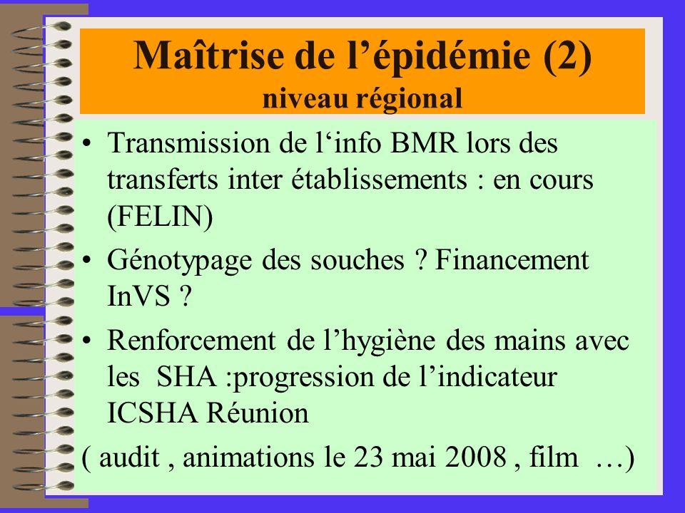 26 Maîtrise de lépidémie (2) niveau régional Transmission de linfo BMR lors des transferts inter établissements : en cours (FELIN) Génotypage des souches .