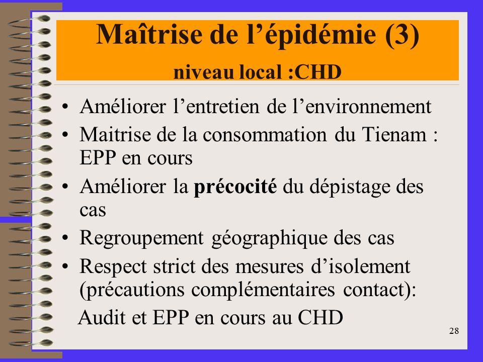 28 Maîtrise de lépidémie (3) niveau local :CHD Améliorer lentretien de lenvironnement Maitrise de la consommation du Tienam : EPP en cours Améliorer la précocité du dépistage des cas Regroupement géographique des cas Respect strict des mesures disolement (précautions complémentaires contact): Audit et EPP en cours au CHD 28