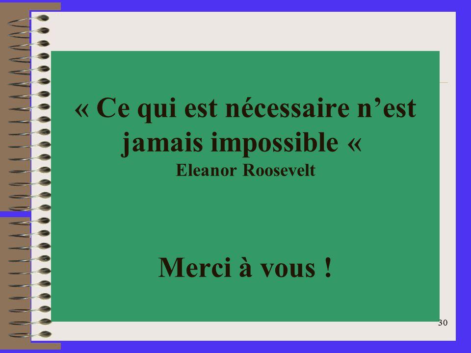 30 « Ce qui est nécessaire nest jamais impossible « Eleanor Roosevelt Merci à vous ! 30