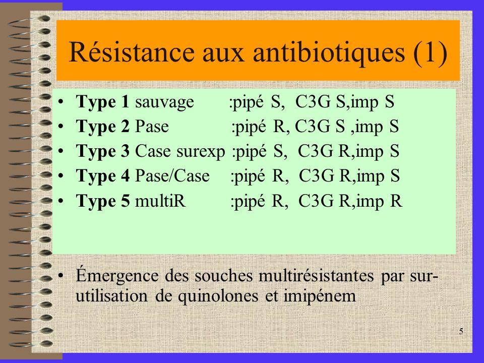 5 Résistance aux antibiotiques (1) Type 1 sauvage :pipé S, C3G S,imp S Type 2 Pase :pipé R, C3G S,imp S Type 3 Case surexp :pipé S, C3G R,imp S Type 4 Pase/Case :pipé R, C3G R,imp S Type 5 multiR :pipé R, C3G R,imp R Émergence des souches multirésistantes par sur- utilisation de quinolones et imipénem