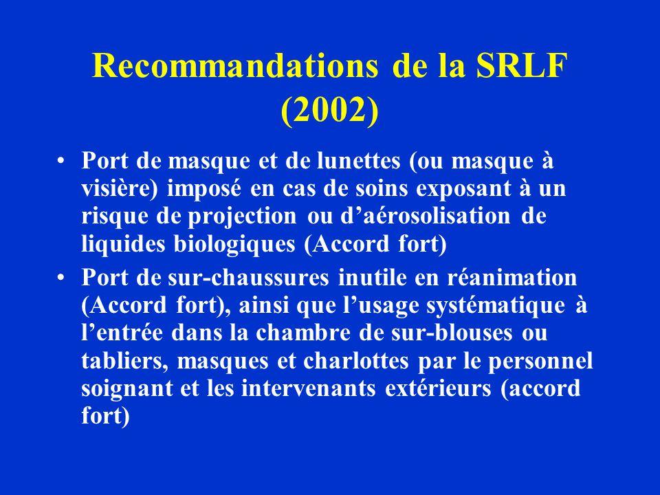 Recommandations de la SRLF (2002) Port de masque et de lunettes (ou masque à visière) imposé en cas de soins exposant à un risque de projection ou daé