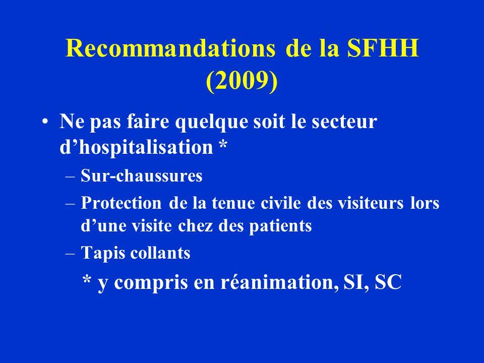 Recommandations de la SFHH (2009) Ne pas faire quelque soit le secteur dhospitalisation * –Sur-chaussures –Protection de la tenue civile des visiteurs
